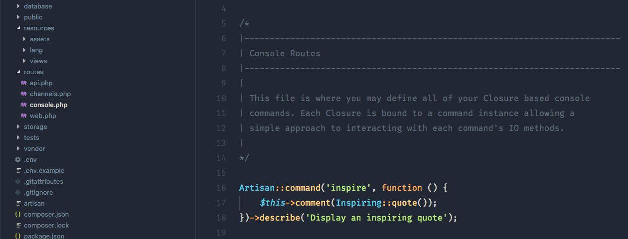 Menggunakan Route Console.php