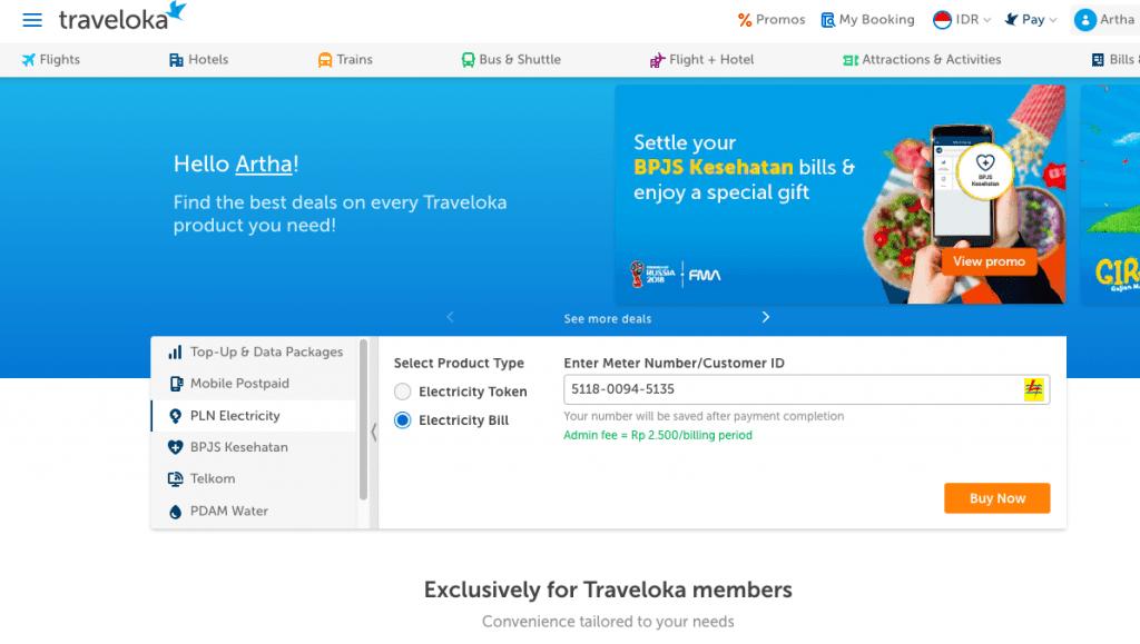 Bayar listrik di Traveloka